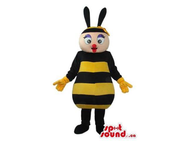 Bee Plush Canadian SpotSound Mascot With Peculiar Lips And Yellow Gloves