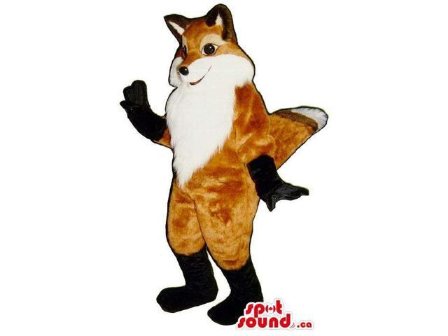 Excellent Cute Brown Fox Plush Canadian SpotSound Mascot With Black Paws