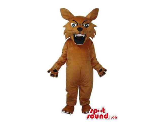 Cartoon Angry Brown Wolf Plush Canadian SpotSound Mascot With Sharp Teeth