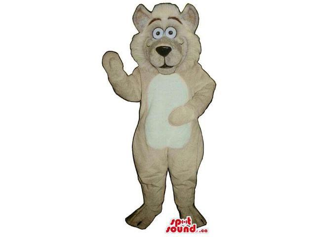 All Beige Dog Animal Plush Canadian SpotSound Mascot With A White Belly