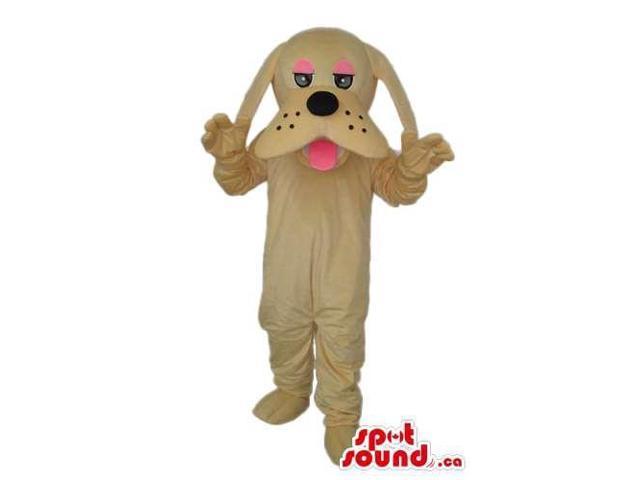 Cartoon Cute Beige Dog Plush Canadian SpotSound Mascot With Pink Eyelids