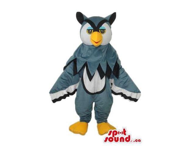 Grey, White And Black Owl Plush Canadian SpotSound Mascot With Blue Eyelids