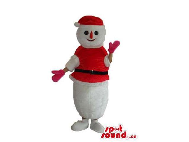 Snowman Plush Canadian SpotSound Mascot Dressed In Santa Claus Clothes