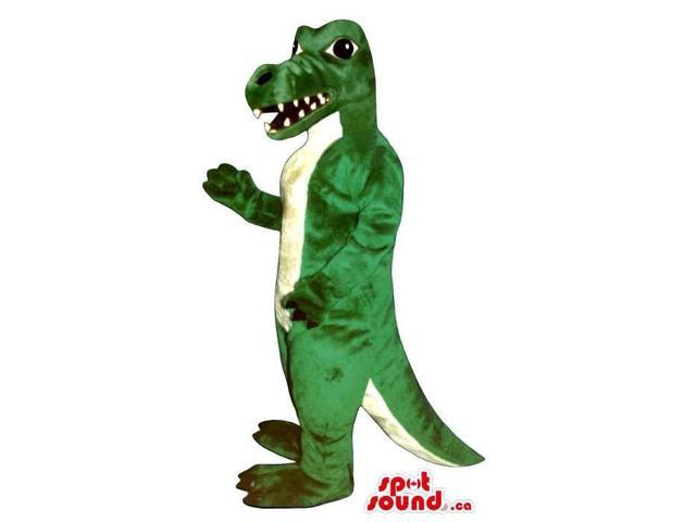 Green And White Angry Dinosaur Animal Canadian SpotSound Mascot With Sharp Teeth
