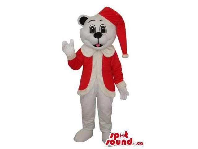 White Dog Plush Canadian SpotSound Mascot Dressed In Santa Claus Clothes