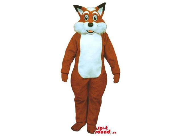 Plush Brown Fox Canadian SpotSound Mascot With Round Eyes And Woolly Face