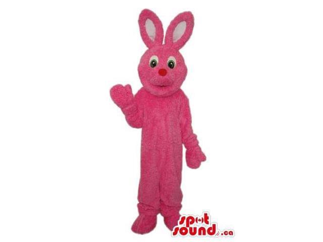 All Pink Bunny Plush Canadian SpotSound Mascot With A Small Red Nose