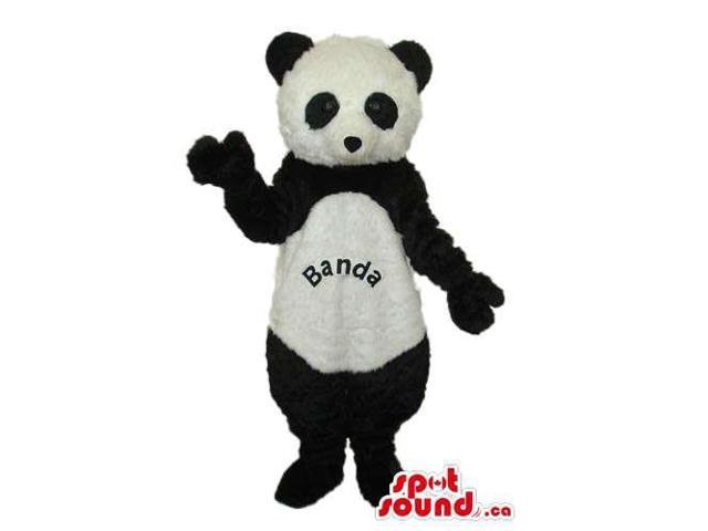 Cute Panda Bear Plush Canadian SpotSound Mascot With Text On Its Belly