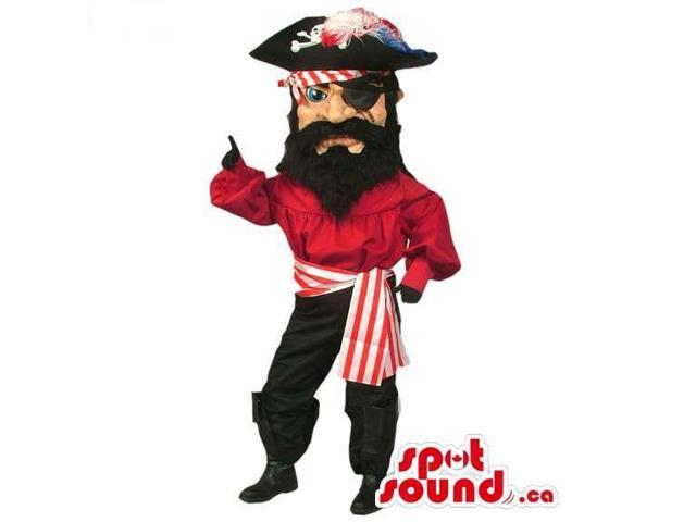 Human Pirate Canadian SpotSound Mascot Dressed In Red And Black Clothes