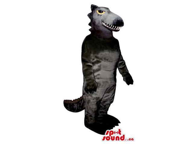 Customised All Grey Dinosaur Canadian SpotSound Mascot With Yellow Eyes