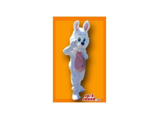 Fantastic White Rabbit Canadian SpotSound Mascot With Blue Eyes And Pink Belly