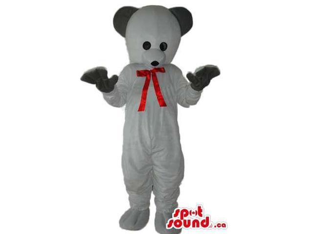 Cute White Teddy Bear Plush Canadian SpotSound Mascot With Black Ears And Red Ribbon