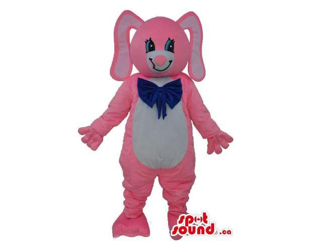 Cute Pink And White Rabbit Plush Canadian SpotSound Mascot Dressed In A Blue Ribbon