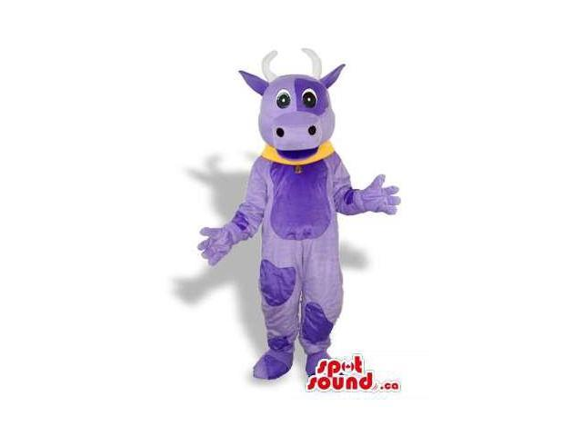 Purple Cow Animal Plush Canadian SpotSound Mascot With A Yellow Collar
