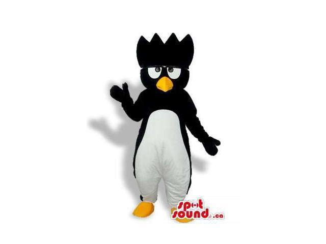Cartoon Character Penguin Canadian SpotSound Mascot With A Spiky Head