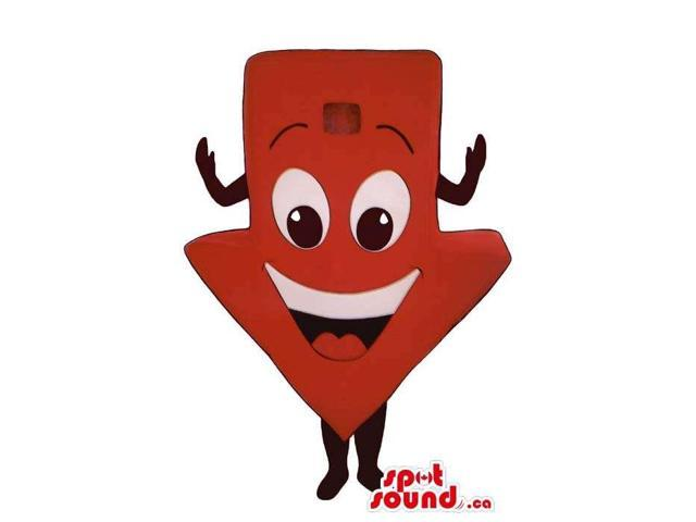 Catchy Red Large Arrow Sign Plush Canadian SpotSound Mascot With A Peculiar Face