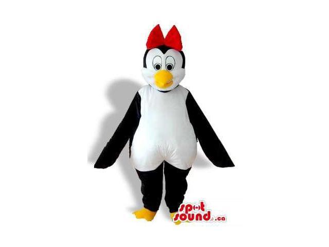 Girl Penguin Animal Bird Plush Canadian SpotSound Mascot With A Red Ribbon