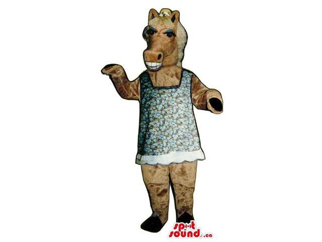 Brown Lady Horse Plush Canadian SpotSound Mascot Dressed In A Dress And A Hat