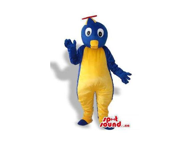 Blue And Yellow Penguin Plush Canadian SpotSound Mascot With A Helicopter Hat