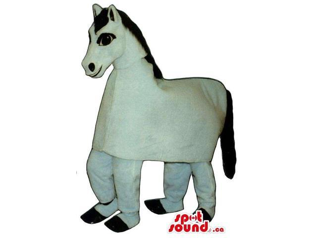 Customised All White Horse Plush Canadian SpotSound Mascot On All-Fours