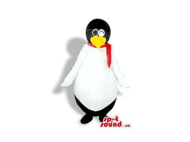 Black And White Penguin Animal Bird Plush Canadian SpotSound Mascot With A Red Scarf