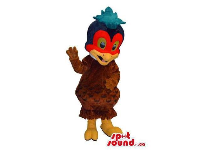 Brown Exotic Bird Plush Canadian SpotSound Mascot With A Red Face And Blue Comb