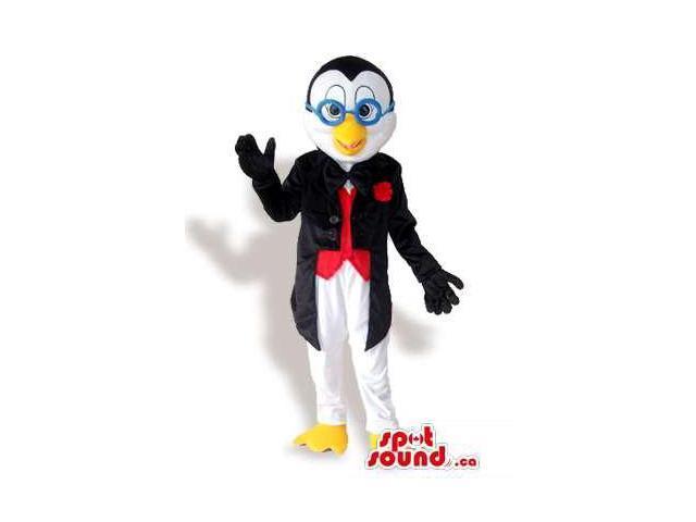 Penguin Animal Plush Canadian SpotSound Mascot Dressed In Glasses And Elegant Gear