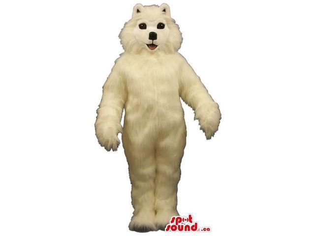 Lovely And Soft White Dog Pet Plush Canadian SpotSound Mascot With Black Eyes