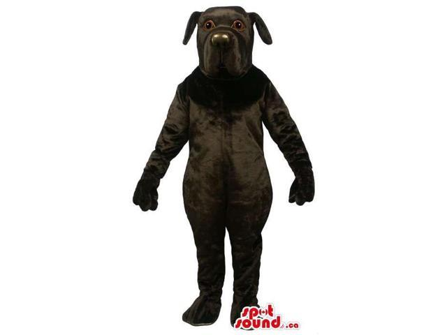 Cute All Black Dog Pet Plush Canadian SpotSound Mascot With Round Nose
