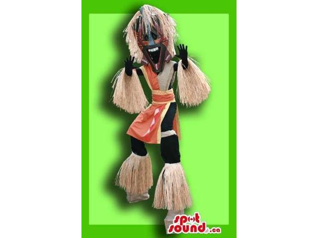 Great Tribal Aborigine Man Adult Size Costume On Stilts
