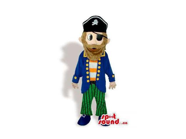 Human Pirate Character Canadian SpotSound Mascot With Blue And Green Clothes