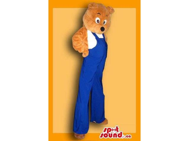 Great Teddy Bear In Overalls Adult Size Costume On Stilts