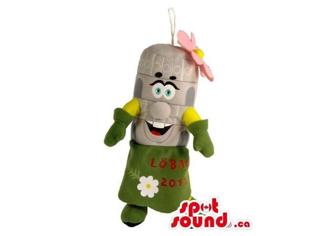 Cute Capsule Plush Canadian SpotSound Mascot In A Green Dress With A Flower And Text
