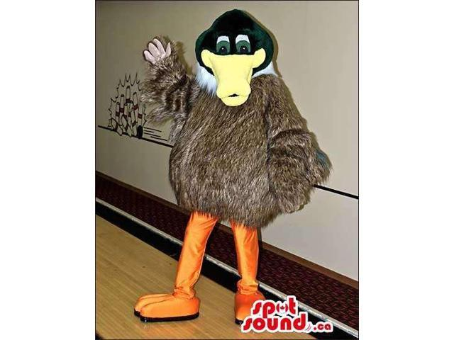 Brown And Green Duck Plush Canadian SpotSound Mascot With Woolly Body