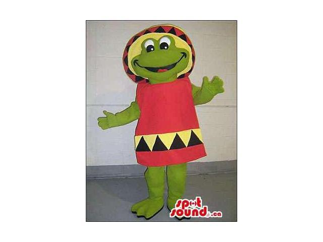 Customised Green Frog Plush Canadian SpotSound Mascot With Red And Yellow Clothes