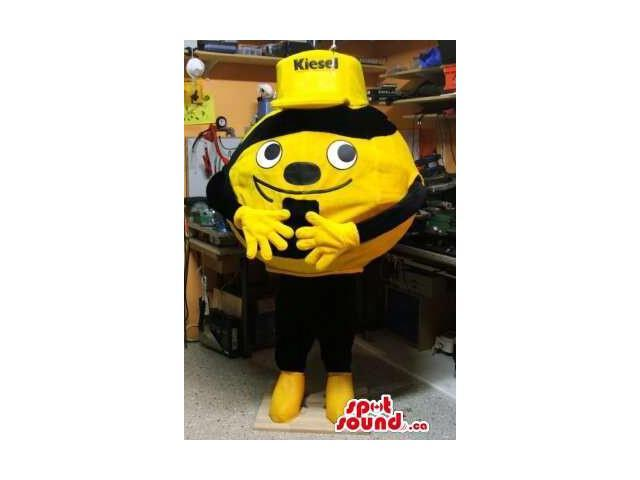 Cute Round Bee Plush Canadian SpotSound Mascot Dressed In A Yellow Cap With Text