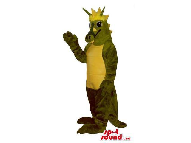 Original Green Dragon Canadian SpotSound Mascot With A Yellow Belly And Spikes