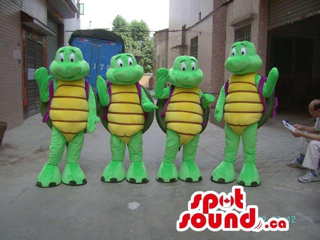 Four Ninja Turtles Alike Cartoon Character Plush Canadian SpotSound Mascots