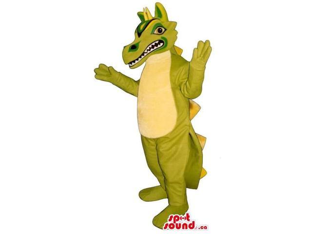 Exotic Green Dragon Plush Canadian SpotSound Mascot With A Pattern On Its Head
