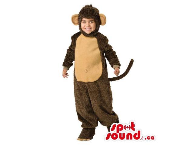 Cute Brown And Beige Monkey Children Size Plush Costume
