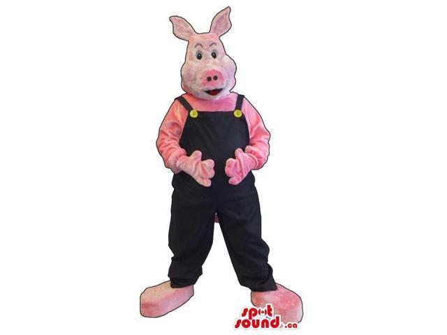 Customised All Pink Pig Canadian SpotSound Mascot Dressed In Black Overalls