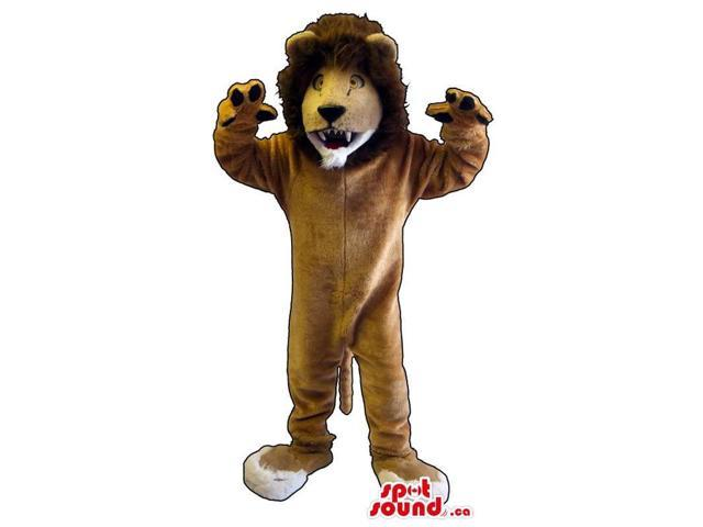 Customised Brown Furious Lion Plush Canadian SpotSound Mascot With Brown Hair