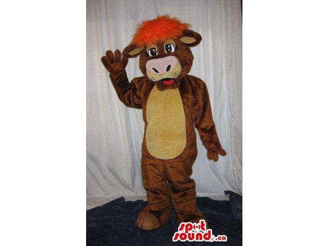 Customised Brown Cow Canadian SpotSound Mascot With A Yellow Belly And Red Hair