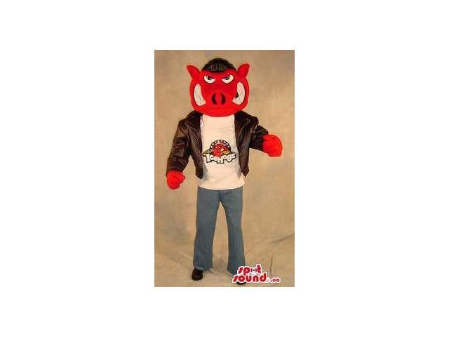 Red Angry Hog Plush Canadian SpotSound Mascot Dressed In A Leather Jacket With A Logo