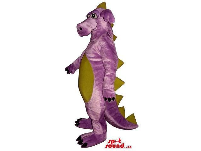 Purple Dragon Plush Canadian SpotSound Mascot With A Beige Belly And Spikes