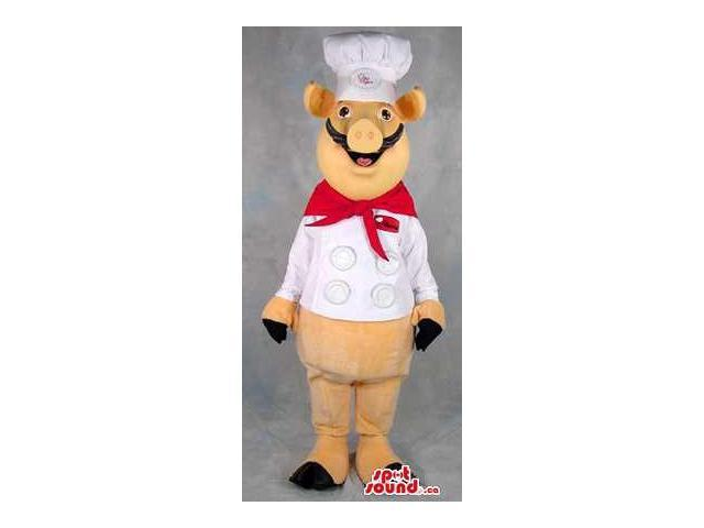 Yellow Hog Or Pig Plush Canadian SpotSound Mascot Dressed In Chef Clothes And A Logo