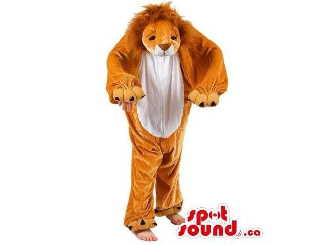 Cool Brown And White Lion Children Size Plush Costume