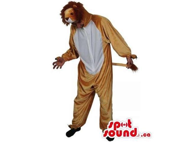 Cool Brown And White Lion Adult Size Plush Costume