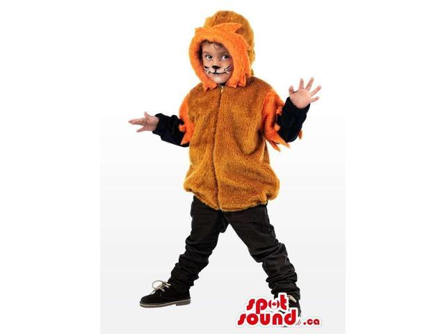 Cool Brown And Orange Lion Children Size Half-Length Costume