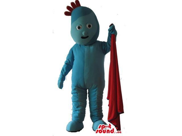 Blue Plush Canadian SpotSound Mascot With Red Hairs Holding A Red Towel